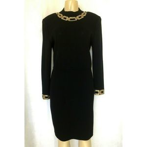 St John Evening Santana Knit Black Sheath Dress 8